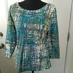 Ruby Rd. Printed blouse with beaded neckline